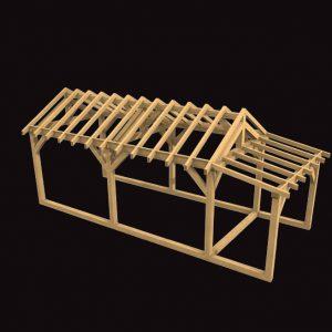One Bay Garage with Log Stonre Oak Frame Kit
