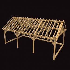 Three Bay Garage Oak Frame Structure Kit