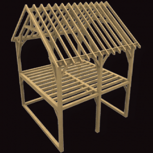 Double Garage with Loft Oak Frame Kit
