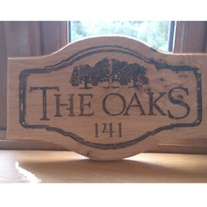 The Oaks Laser Engraved house Plaque with trees