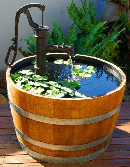 Oak Barrel Planter Water Feature with Cast Iron Water Pump