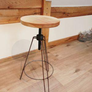 Handmade Oak Stool on Metal Frame