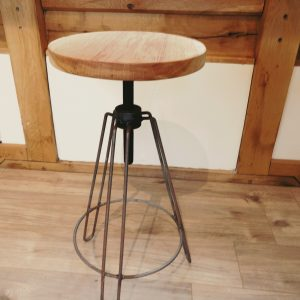 Solid Oak Cast Iron Stool