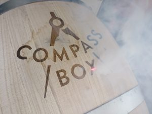Compass Box Logo Laser Engraved onto Wine Barrel Belly