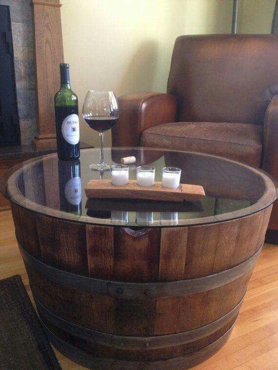 Oak Barrel Planter Coffee Table
