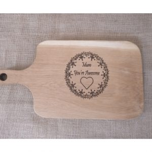 Awesome Mum Laser Engraved Chopping Board with Handle