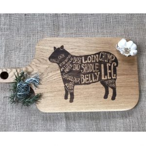 Lamb Laser Engraved Chopping Board with Wooden Handle