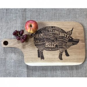Laser Engraved Chopping Board with Pig Design and Handle