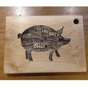 Laser Engraved Chopping Board with Pig Design