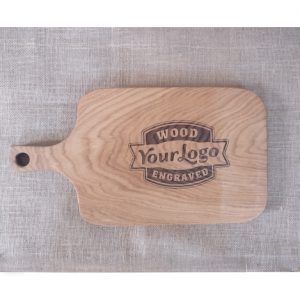 Your Logo Engraved onto Oak Chopping Board with Handle