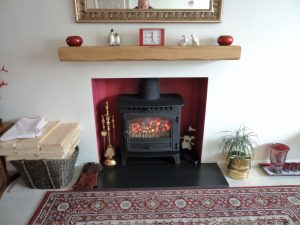 Worked Oak Beam Mantelpiece