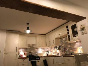 Lightly worked oak ceiling beam