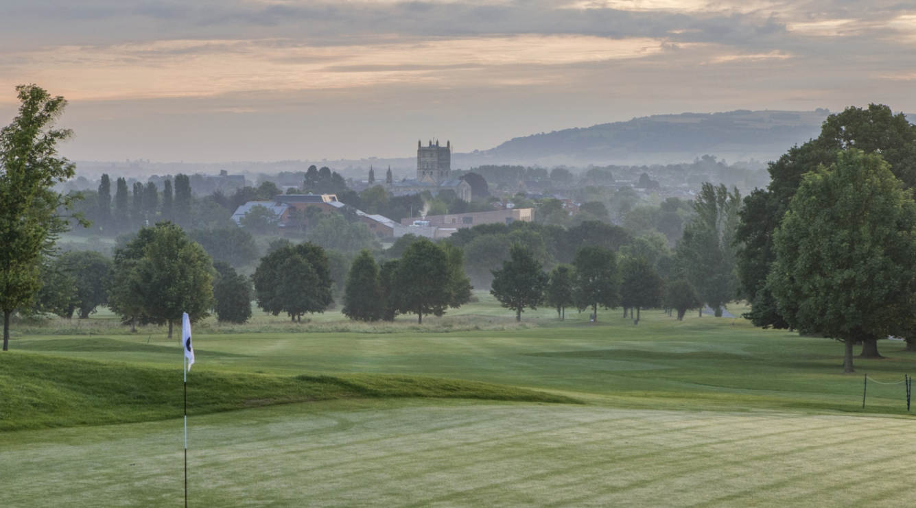 Tewkesbury Park Golf Course and View of Cathedral