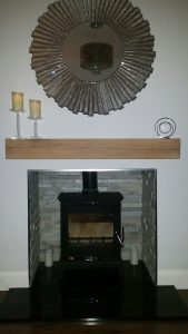 Contemporary Finish Oak Beam above Log Burner